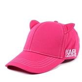 美國正品 KARL LAGERFELD 貓咪耳朵棒球帽-桃紅【現貨】