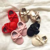 18春夏新品女寶寶嬰兒學步鞋百搭純色蝴蝶結鬆緊不掉步前軟底皮鞋 全館免運