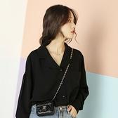 日系風格穿搭黑色雪紡長袖襯衫女裝秋款上衣設計感小眾2020年新款 【中秋節】