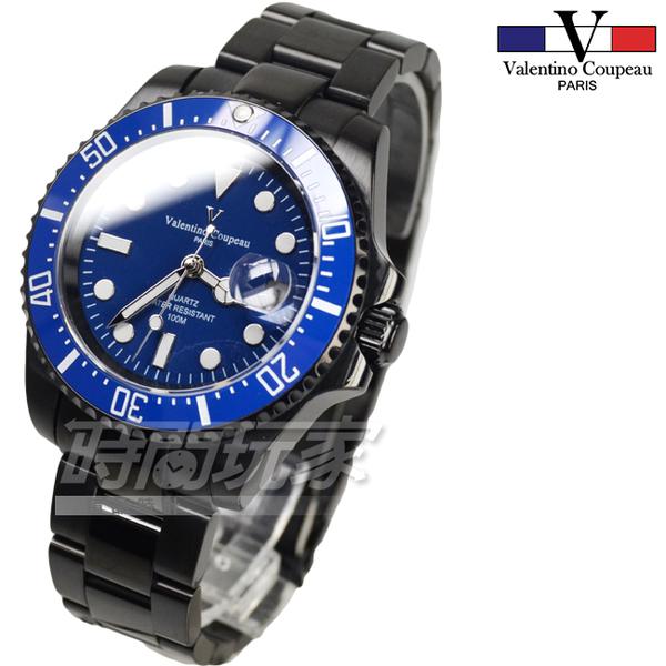 valentino coupeau 范倫鐵諾 古柏 黑金剛 水鬼不銹鋼男錶 防水手錶 潛水錶 石英錶 61589B藍框黑
