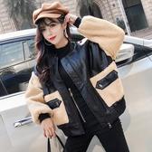 2019秋冬新款韓版網紅寬鬆加厚拼接pu皮衣短款羊毛羔外套女夾克女 美芭