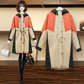 大衣外套L-4XL大碼冬加絨加厚胖mm撞色抽繩連帽風衣200斤拼接顯瘦大衣外套M031韓衣裳