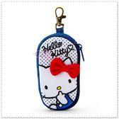 小花花日本精品♥Hello Kitty 牛仔色 側姿 點點 立體紅蝴蝶結 鑰匙收納包 可掛式42149101