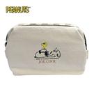 【日本正版】史努比 寬口 化妝包 收納包 Snoopy PEANUTS - 081861