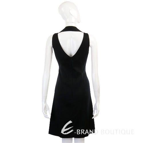 MOSCHINO 黑色繞頸V領露背洋裝 1210401-01