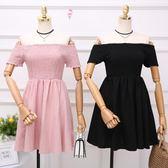 夏季韓版新款褶皺木耳邊一字領露肩短袖顯瘦高腰洋裝短裙女 【korea時尚記】