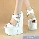 增高魚口鞋鞋韓版14CM超高跟厚底防水臺交叉帶內增高鬆糕鞋坡跟魚嘴涼 快速出貨