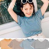 Queen Shop【01012286】小高領條紋針織上衣 四色售*現+預*