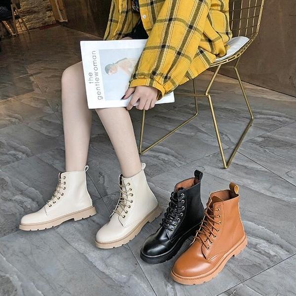 短靴 黑色機車馬丁靴女新款百搭平底春秋單靴ins潮網紅 - 歐美韓熱銷