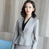 美之札[8S315-PF]深V領單色顯腰OL長袖西裝外套~