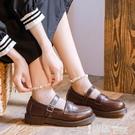 皮鞋 jk鞋制服鞋日系英倫復古圓頭學生牛筋底一字扣瑪麗珍百搭小皮鞋女 【99免運】
