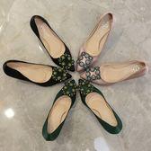 性感女神春款高跟鞋女2018新款細跟7cm方扣水鑽綠色婚鞋尖頭單鞋三角衣櫥