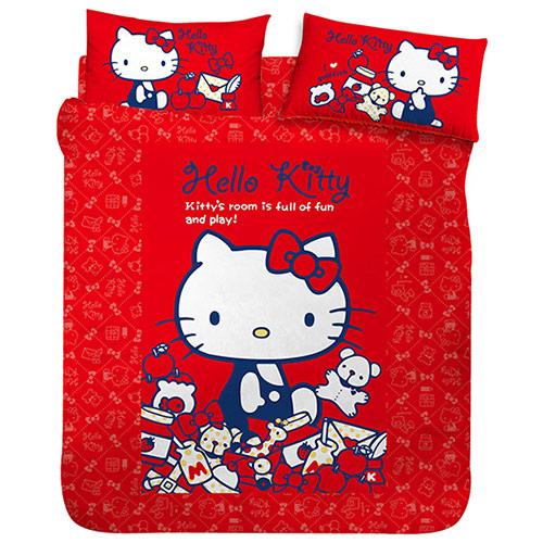 【享夢城堡】HELLO KITTY 我的遊戲房系列-單人床包組(紅)