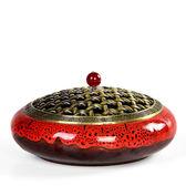 香爐 蚊陶瓷室內蚊香盤托檀香家用日式蚊香盒支架特大號帶蓋盤 - 夢藝家