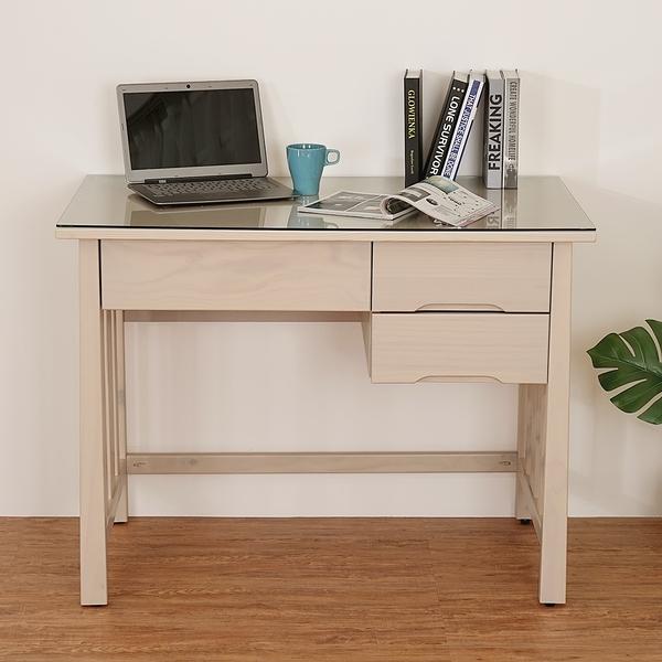 YoStyle 花崎三抽實木書桌(含玻璃) 電腦桌 辦公桌 工作桌 專人配送安裝
