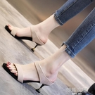 涼鞋女2020新款仙女風夏季女鞋時尚百搭網紅超火細跟中跟高跟鞋女