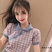夏季半袖娃娃領寬鬆針織衫短袖t恤格子上衣女【時尚大衣櫥】