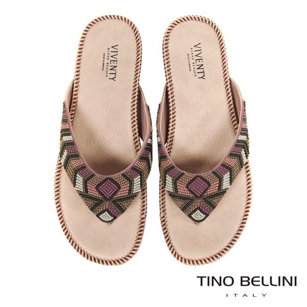 Tino Bellini 巴西進口民族風情繽紛珠飾夾腳涼拖鞋 _ 粉 B83240 歐洲進口款