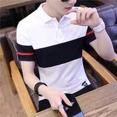 男士短袖t恤翻領polo打底衫韓版潮流體恤上衣服夏季新款男裝半袖 魔方數碼館