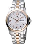 ENICAR 英納格 羅馬經典日曆機械腕錶-銀x雙色版 168-51-326G