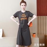 大碼短袖洋裝微胖mm遮肚子連身裙減齡夏季新款200斤顯瘦t恤衫裙子 LF3655『黑色妹妹』