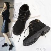短靴女春秋韓版復古學生平底機車馬丁靴短筒切爾西靴 盯目家