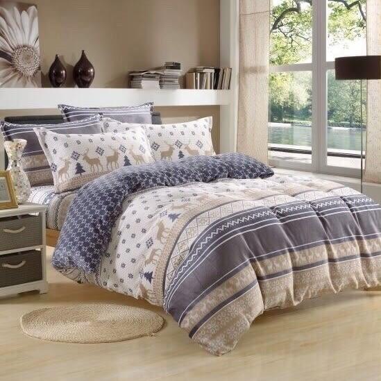 100%法蘭絨雙人加大6×6.2尺四件式兩用被毯床包組☆冬季首選☆《調皮小鹿》