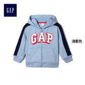 Gap男嬰幼童 LOGO長袖寶寶休閒外套 兒童連帽洋氣童裝171476-淺藍色