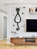 貓咪掛鐘創意客廳現代簡約鐘表時尚卡通掛表家用靜音個性時鐘裝飾【快速出貨】