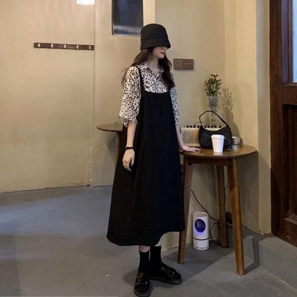 漂亮小媽咪 韓系 兩件式 襯衫 吊帶長裙  【DS5126】印花 短袖 襯衫 二件式 吊帶洋裝 背心裙
