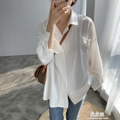 女襯衫銅氨絲秋裝白襯衫女設計感小眾防曬寬鬆垂感雪紡長袖襯衣秋季上衣【易家樂】