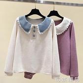 韓版秋裝長袖T恤寬鬆娃娃領上衣初中生打底衫高中女學生衛衣 雙12全館免運