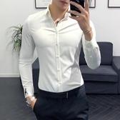 男士素面襯衫 純白色簡約百搭工裝襯衣免燙帥氣修身款英倫風潮 聖誕節交換禮物
