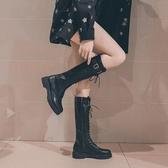 長靴 高筒靴女秋季新款及膝靴系帶長靴騎士瘦瘦靴平底網紅靴子女潮  魔法鞋櫃