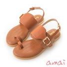 amai壓紋寬帶指環涼鞋 棕