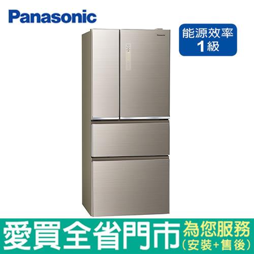 Panasonic國際610L四門玻璃變頻冰箱NR-D610NHGS-N含配送到府+標準安裝【愛買】