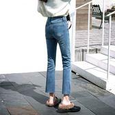 售完即止-牛仔褲冬季高腰牛仔褲女2019正韓學生寬鬆闊腿微喇叭褲10-15(庫存清出T)