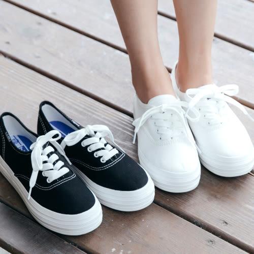 厚底鞋.經典綁帶小白鞋休閒鞋.白鳥麗子