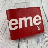 BRAND楓月 LOUIS VUITTON LV 路易威登 M67717 SUPREME聯名 EPI 水波紋 紅色 短夾