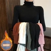 長袖T恤女 高領加絨修身緊身打底衫女洋氣秋冬新款2019黑色內搭長袖t恤上衣