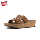 【FitFlop】軟木塞皮革雙扣環雙帶式涼鞋(焦糖色)