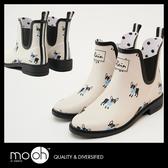 短雨靴 防水橡膠小狗短筒雨鞋-灰白色 mo.oh(韓國鞋款)