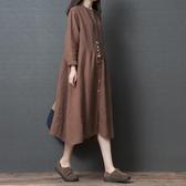 春裝新品1件85折 2020新款民族風 大碼寬鬆 復古文藝森系棉麻連身裙-不含配飾