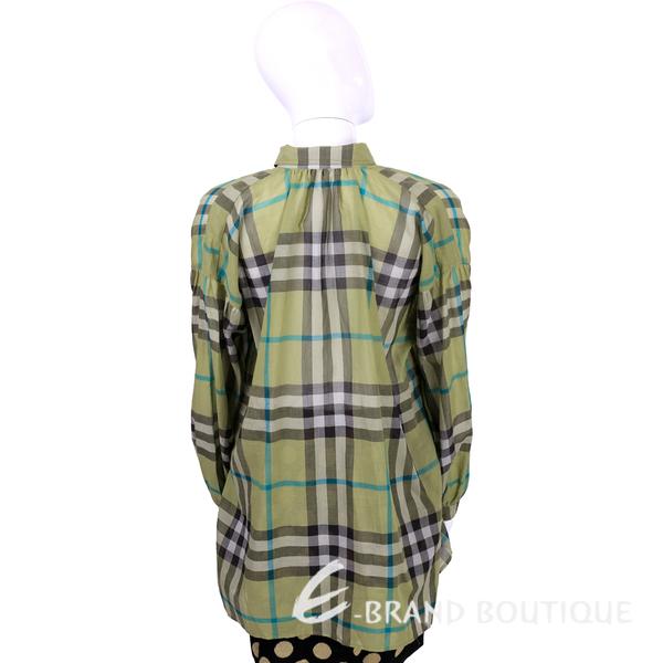 BURBERRY 格紋棉質寬版長袖襯衫(綠色) 1530122-08