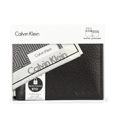Calvin Klein 荔枝紋皮革可拆式證件短夾禮盒(黑色-含帕巾)103018