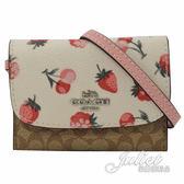 茱麗葉精品【全新現貨】COACH 59176 草莓櫻桃圖案拼接提掛式名片包.白邊