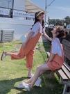 MG 韓版減齡吊帶褲女寬鬆工裝連身短褲