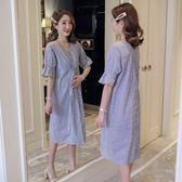 初心 金秘書款【D6013】 韓系洋裝 條紋 短袖 扭結 V領 開叉 喇叭袖 OL 洋裝