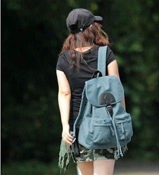 學院風後背包  學生書包 帆布【藍星居家】