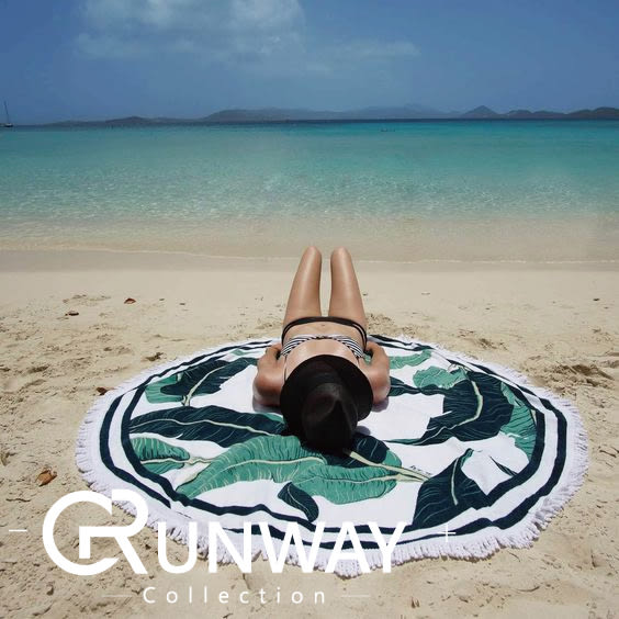 【24H】海邊 渡假 必備 印花 圓形 超大 沙灘 坐墊 沙灘 野餐墊 披肩